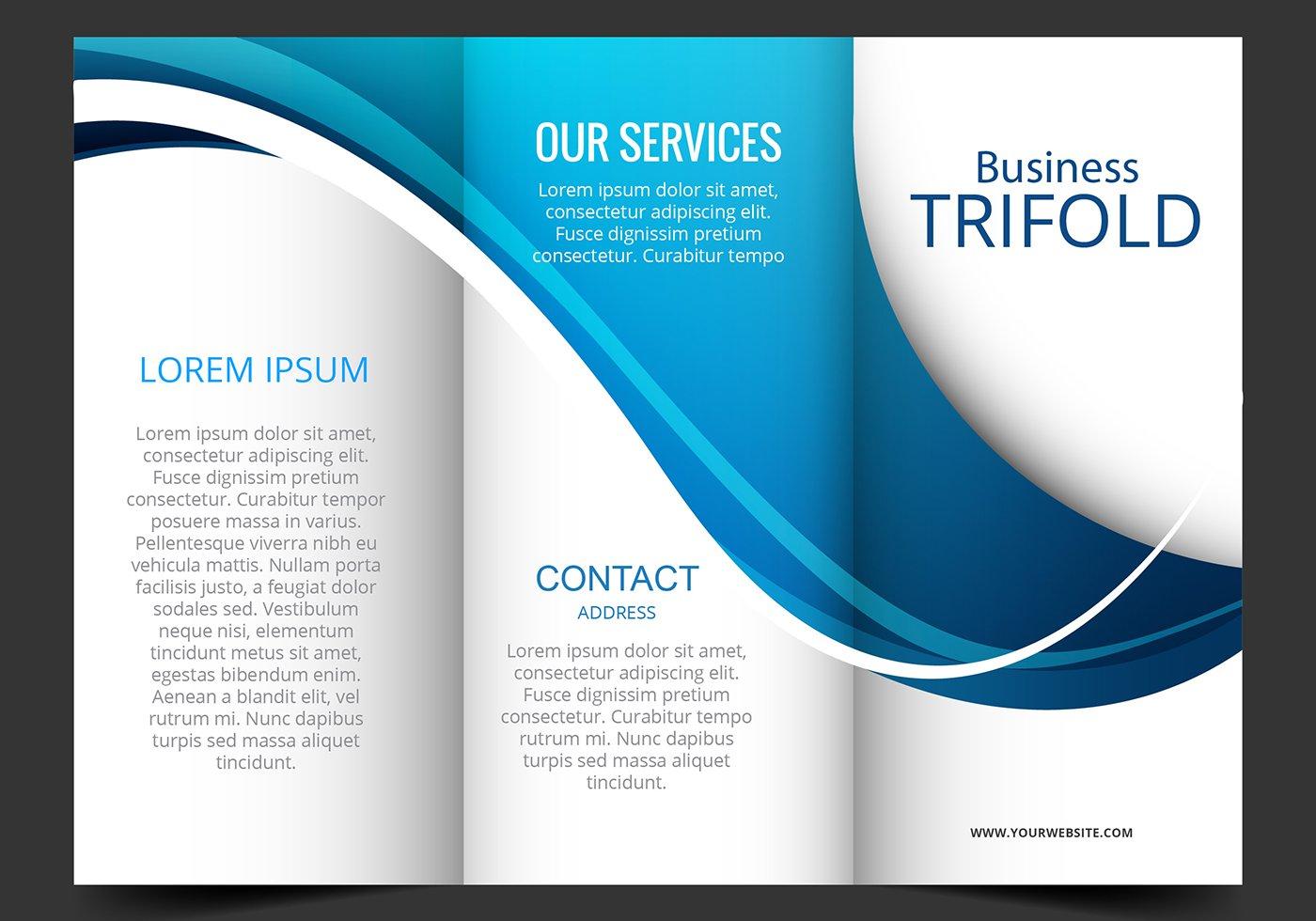 Vector Template Design Of Blue Wave Trifold Brochure Association